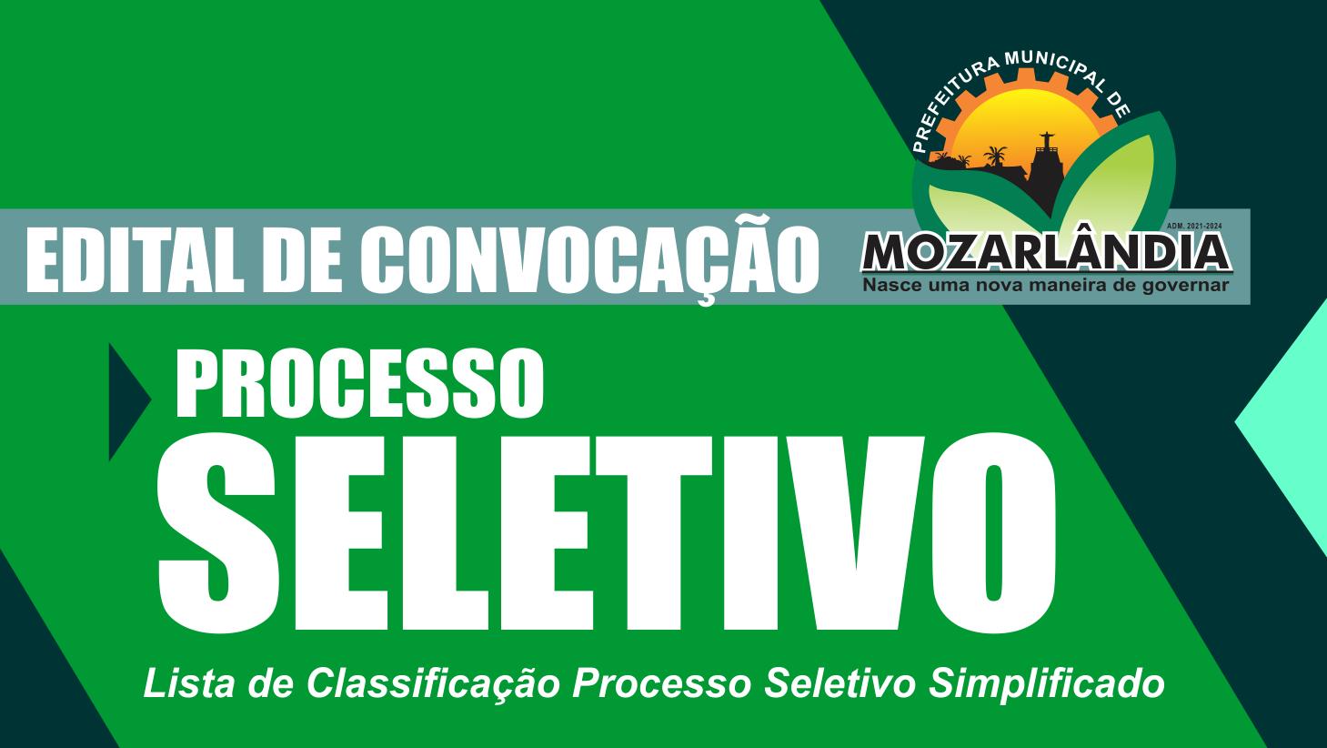 EDITAL DE CONVOCAÇÃO – PROCESSO SELETIVO EDUCAÇÃO