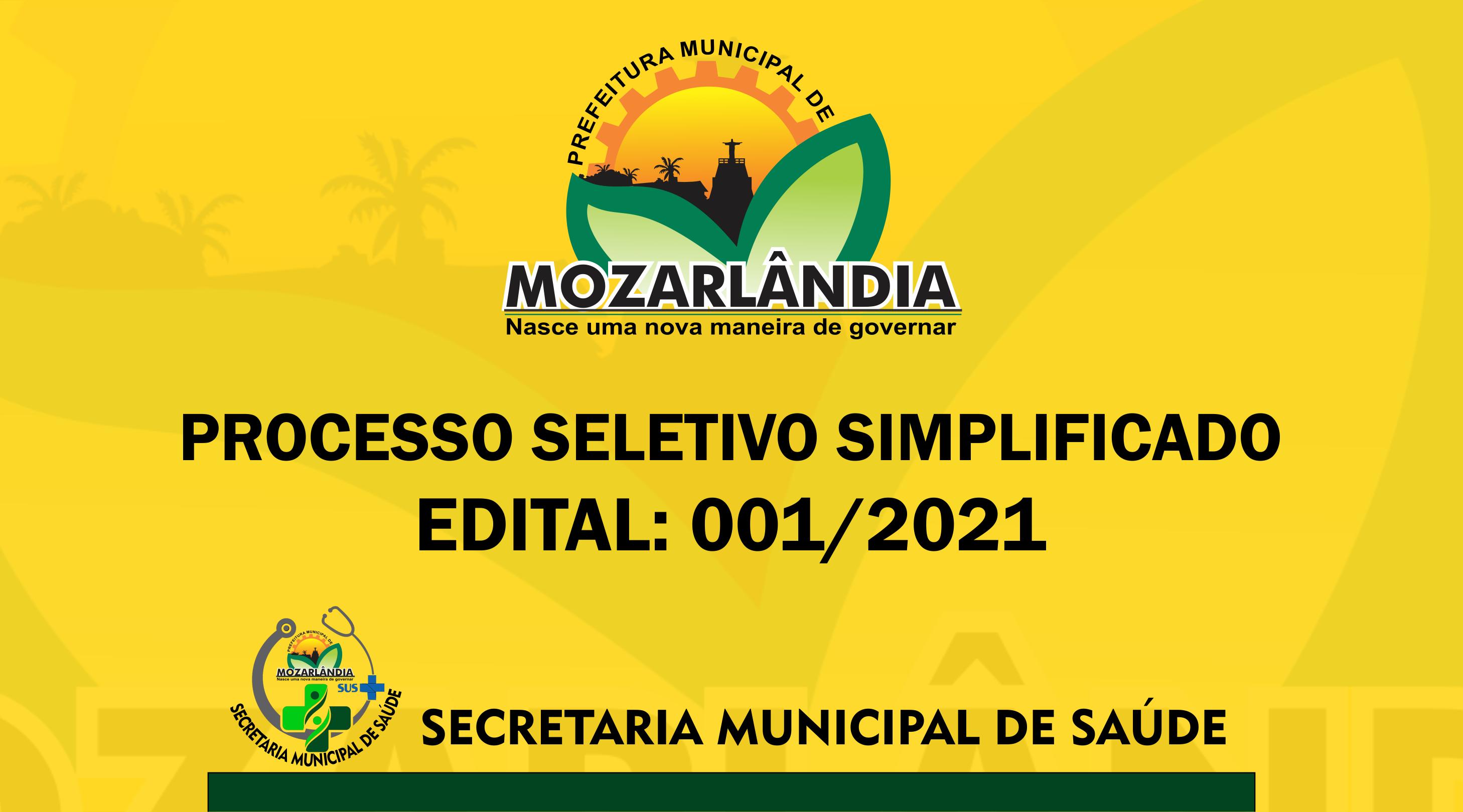 PROCESSO SELETIVO SIMPLIFICADO – Edital nº001/2021